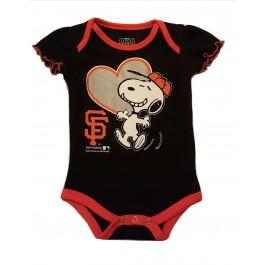 MLB Licensed San Francisco Giants Girls Snoopy Bodysuit Creeper Crawler (0-3 Months)