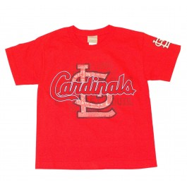 MLB Licensed St Louis Cardinals YOUTH Shadow Print T-Shirt (Small)