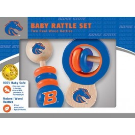 Boise State Broncos Wooden Baby Rattle Set