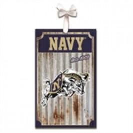Navy Midshipman Corrugated Metal Ornament
