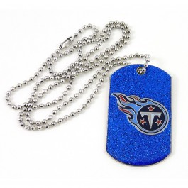Tennessee Titans Glitter Dog Tag Necklace