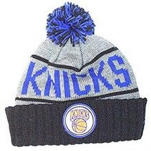 NBA Officially Licensed New York Knicks Mitchell & Ness Knit Gray Black Blue Print Cuffed Pom Beanie Hat Cap Lid
