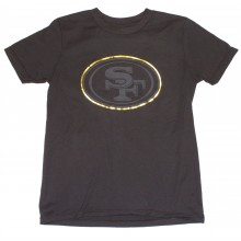 NFL Officially Licensed San Francisco 49ers Reflective Gold Outline Logo Black Youth T-Shirt (X-Large 18)