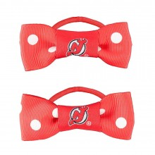 New Jersey Devils Bow Pigtail Holders