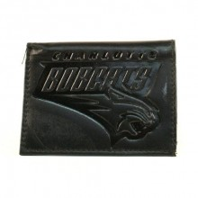 Charlotte Bobcats Black Leather Tri Fold Wallet