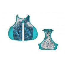 A-Game Camo Under Current Ultra Marine Blue Swimsuit- Zippered Top