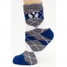 Brigham Young BYU Argyle Fuzzy Lounge Socks