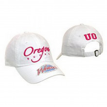NCAA Licensed Oregon Ducks Womens White Slouch Fit Baseball Hat Cap Lid