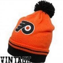 NHL Licensed Vintage Black and Orange Pom Beanie Philadelphia Flyers