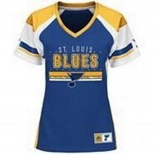 NHL Licensed St. Louis Blues Majestic Women's Ready To Win Shimmer Jersey Shirt (Large)