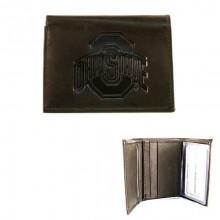 Ohio State Buckeyes Black Tri Fold Leather Wallet