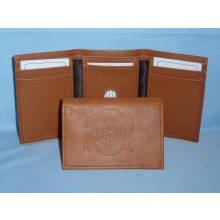 Ohio State Buckeyes Brown Tri Fold Leather Wallet