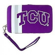 "Texas Christian Horned Frogs Distressed Wallet Wristlet Case (3.5"" X .5"" X 6"")"