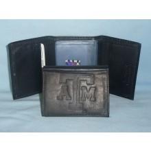 Texas A & M Aggies Tri-Fold Black Leather Wallet