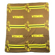 Wyoming Cowboys 3 Bar Repeater Fleece Throw Blanket