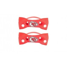 Kansas City Chiefs Bow Pigtail Holders