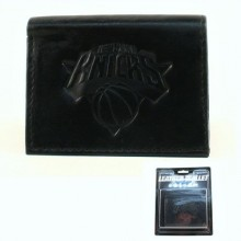 NBA Officially Licensed New York Knicks Embossed Black Tri-Fold Leather Wallet