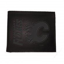 Calgary Flames  Black Leather Bi-Fold Wallet