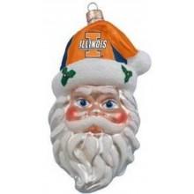 NCAA Licensed Illinois Hand Painted Glass Santa