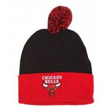 NBA Officially Licensed Chicago Bulls Black Red Cuffed Pom Beanie Hat Cap Lid