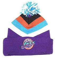 NBA Officially Licensed Utah Jazz Mitchell & Ness Purple White Blue Orange Striped Cuffed Pom Beanie Hat Cap Lid Toque