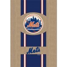 """MLB Licensed New York Mets Burlap 28"""" x 44"""" House Flag"""