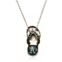 Oakland A's Crystal Flip Flop Necklace