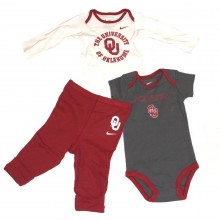 NCAA Licensed Oklahoma Sooners 3 Piece Bodysuit and Pant Set