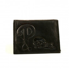 MLB Officially Licensed Philadelphia Phillies Embossed Black Leather Tri-Fold Wallet