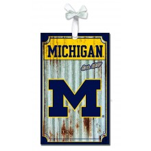 Michigan Wolverines Corrugated Metal Ornament