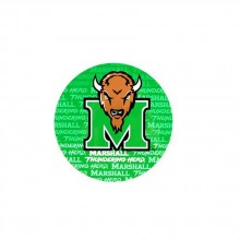 "NCAA Officially Licensed Marshall Thundering Herd Repeating Design 4"" Round Magnet"
