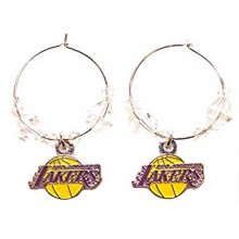 NBA Officially Licensed Los Angeles Lakers Beaded Hoop Earrings