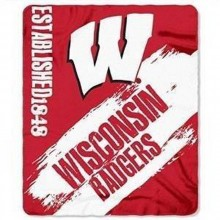 NCAA Officially Licensed Wisconsin Badgers Established Fleece Throw Blanket 50x60