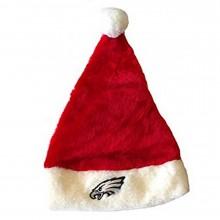 NFL Officially Licensed Philadelphia Eagles Team Logo Plush Red and White Santa Beanie Hat Lid Cap