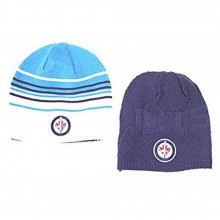 NHL Officially Licensed Winnipeg Jets Reversible Blue Striped Navy Uncuffed Embroidered Beanie