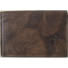 NBA Officially Licensed Miami Heat Embossed Dark Brown Bi-Fold Leather Card holder
