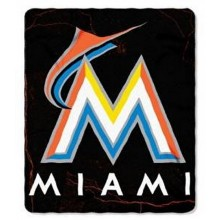 """MLB Officially Licensed Miami Marlins Lightning Style Fleece Blanket Throw (50"""" X 60"""")"""