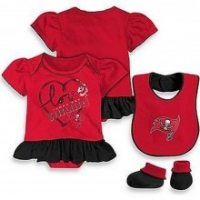 NFL Licensed Tampa Bay Buccaneers 3 pc. Bodysuit Creeper Crawler with Bib and Booties