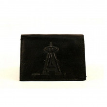MLB Officially Licensed Los Angeles Angels of Anaheim Embossed Black Leather Tri-Fold Wallet
