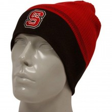 NCAA Officially Licensed North Carolina NC State Wolfpack Red and Black Stripe Beanie Hat Cap