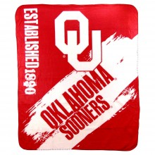 NCAA Officially Licensed Oklahoma University Sooners Paint Stripe Fleece Throw Blanket