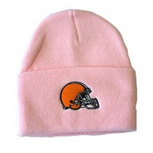 NFL Licensed Cleveland Browns Pink Wide Cuff Knit Hat Beanie Hat Cap Lid