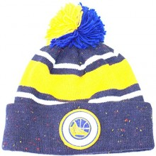NBA Officially Licensed Golden State Warriors Mitchell & Ness Speckled Yellow Stripe Cuffed Pom Beanie Hat Cap Lid