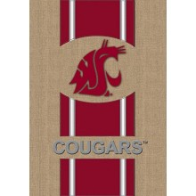 "Washington State Cougars Burlap Vertical Flag 43"" H x 29"" W"