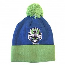MLS Licensed Seattle Sounders Embroidered Pom Knit Cuffed Beanie Hat Cap Lid