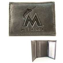 MLB Officially Licensed Miami Marlins Embossed Black Leather Tri-Fold Wallet