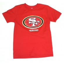 NFL Officially Licensed San Francisco 49ers Reflective Gold Outline Logo Youth T-Shirt (Small 8)