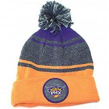 NBA Officially Licensed Phoenix Suns Mitchell & Ness Orange Gray Cuffed Pom Beanie Hat Cap Lid