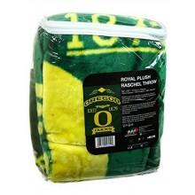 NCAA Officially Licensed Oregon Ducks Royal Plush Raschel Fleece Throw Blanket