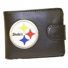 NFL Officially Licensed Pittsburgh Steelers Faux Embroidered Snap Leather Bi-Fold Wallet